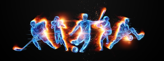 Творческий коллаж разных спортсменов. концепция ставок на спорт, реклама, спорт, здоровый образ жизни. футбол, баскетбол, хоккей, бейсбол, американский футбол. 3d иллюстрации, 3d визуализация.