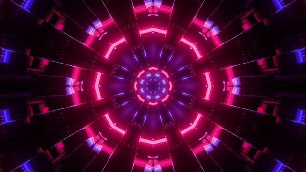 3dイラストで輝く明るいネオンライトと創造的なカラフルな未来的な万華鏡
