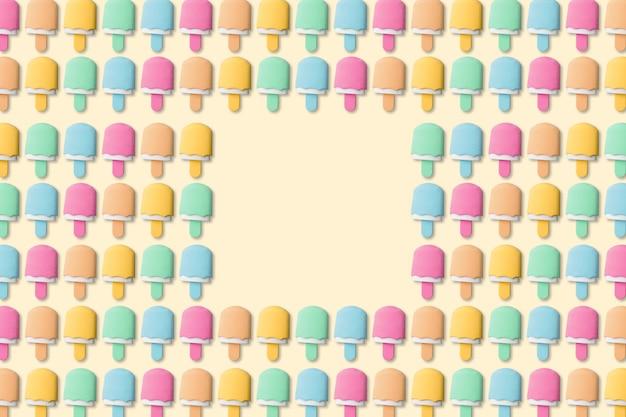 黄色の背景の夏の創造的なカラフルなアイスキャンディーやアイスクリーム