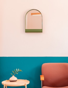 Creative colourful retro living room cornor with wooden table