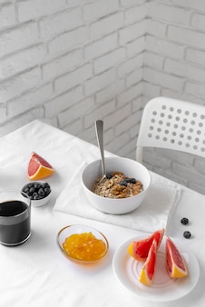 Creative composition of breakfast meal