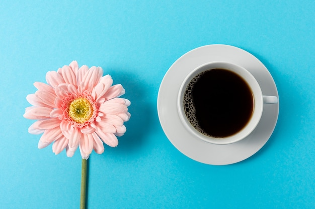 Creative composition of daisy flower and cup of coffee on blue background.
