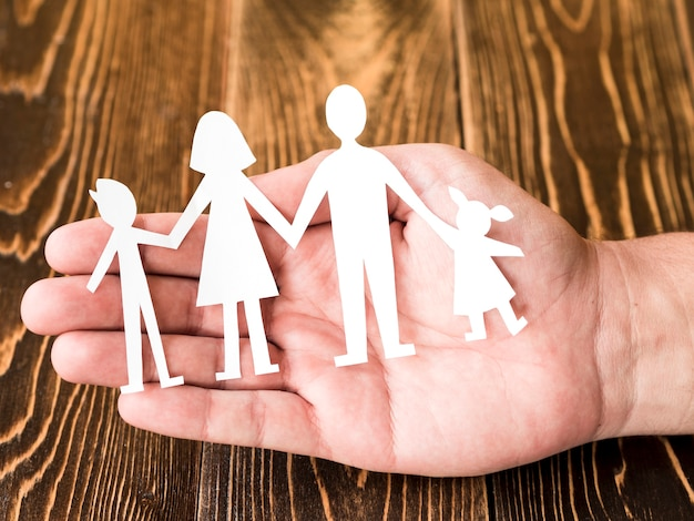 Creative composition for family concept on wooden background