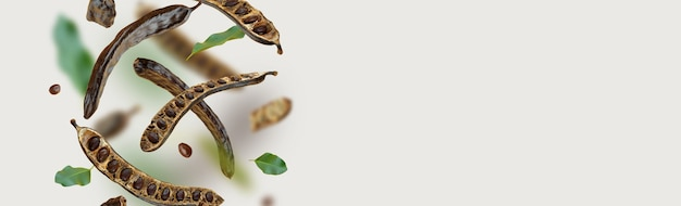 창조적 인 구성 떠 다니는 유기농 캐롭 꼬투리 씨앗 잎 음식 배경 자연 채식주의 자 먹기