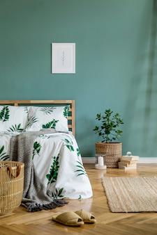Креативная композиция уютной и стильной спальни с копией пространства шаблона