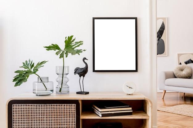 Креативная композиция дизайна интерьера гостиной с макетом рамки плаката и аксессуарами