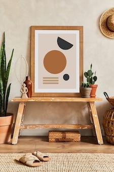 モックアップポスターフレーム、木製ベンチ、サボテン、パーソナルアクセサリーを備えたスタイリッシュなリビングルームインテリアのクリエイティブな構成。植物の愛と自然の概念。レンプレート。