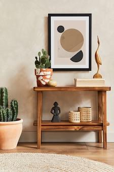 モックアップポスターフレーム、木製棚、サボテン、パーソナルアクセサリーを備えたスタイリッシュなリビングルームインテリアのクリエイティブな構成。植物の愛と自然の概念。レンプレート。
