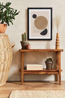 モックアップポスターフレーム、木製棚、籐バスケット、サボテン、パーソナルアクセサリーを備えたスタイリッシュなリビングルームインテリアのクリエイティブな構成。植物の愛と自然の概念。レンプレート。