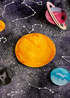 Creative composition of paper planets