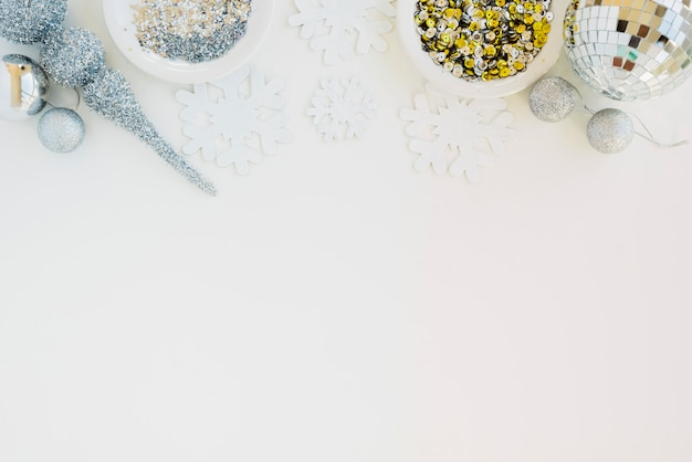 Creative composition of sparkles and confetti