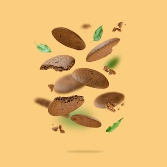 떠다니는 초콜릿 칩 쿠키 글루텐이 없는 코코아 홈메이드 음식을 사용한 창의적인 구성