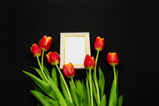 Creative composition with photo frame mock up, red tulips