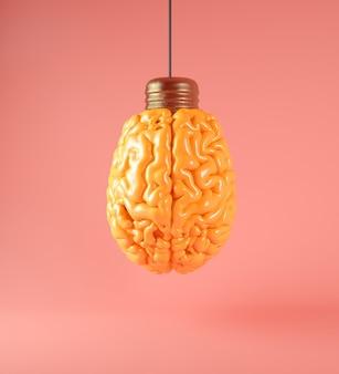 Креативная концепция: мозг как лампочка 3d-рендеринга