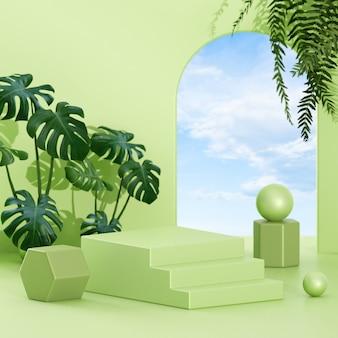 제품 프레젠테이션을 위한 연단 무대의 창의적인 개념 미니멀한 장면 배열