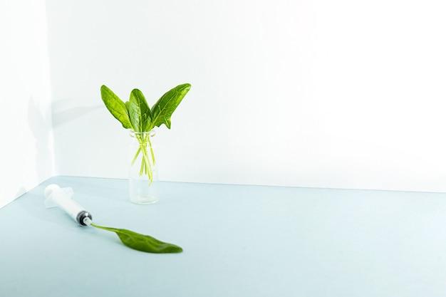 Креативная концепция листья шпината в бутылочке с лекарством и в шприце
