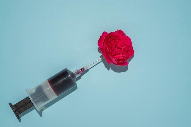 창의적인 컨셉의 주사기와 빨간 장미.