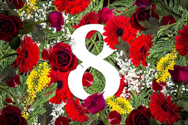 女性の日のための花、花の背景、フラットレイ、上面図とクリエイティブなコンセプト