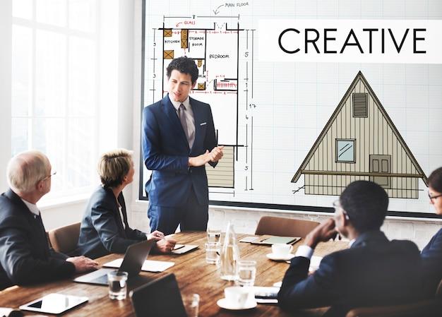 創造的な創造性住宅の内部構造の概念