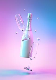 リアルな3dお祝いオブジェクト、ガラスのボトルシャンパンワインを使用したクリエイティブなデザイン。カラフルな紫外線ホログラフィックネオンライト。クリエイティブコンセプト