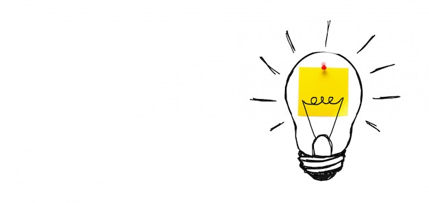 Creative drawing of a light bulb on a yellow sticker, on a white background. the concept of new ideas, innovations, solutions to problems. banner.