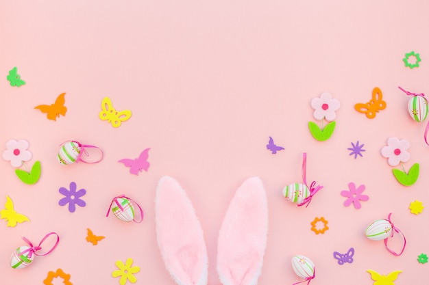 Creative easter flat lay composition