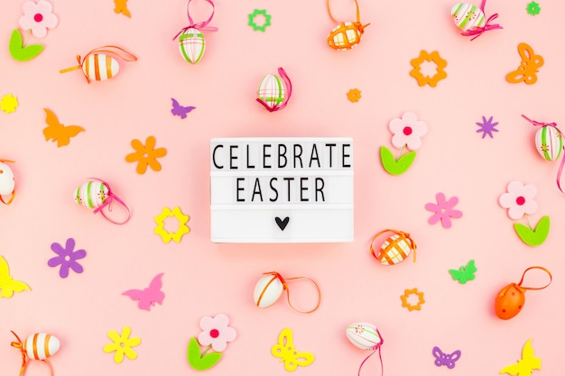 Creative easter flat lay holiday text ligthbox