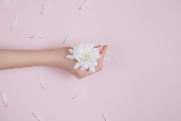 Creative and fashion art skin care of hands and white flowers in hand of women.