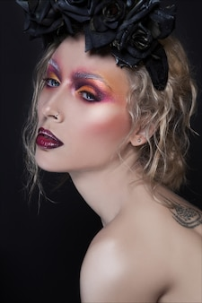 Creative fashion and beauty close-up portrait. creative make up on young pretty woman