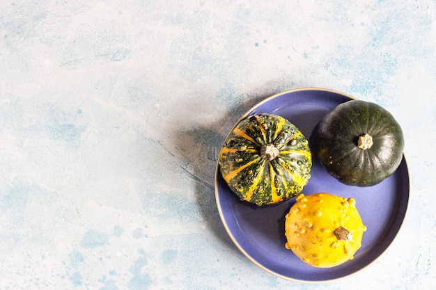Creative flat lay autumn composition with small decorative pumpkins on a blue plate.