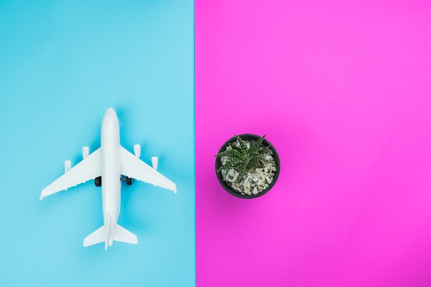 Creative flat lay fashion style with travel concept colorful background