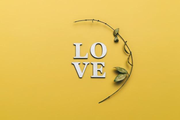 Творческая плоская планировка слова любви с натуральными растениями.