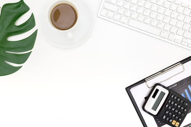 Creative flat lay photo of modern workplace with laptop, top view laptop background.