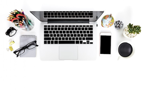 Creative flat lay photo of modern workplace with laptop.