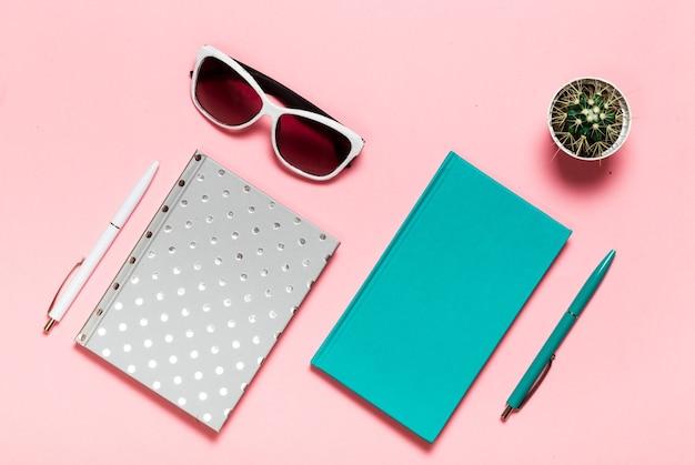 Креативная плоская фотография рабочего стола с аквамариновым ноутбуком, очками кактус с копией пространства, розовый фон, минималистичный стиль