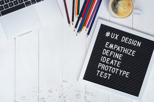 Creative flat lay photo of ux designer working desk and ux design process text on black felt board.