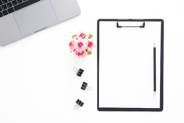 Creative flat lay photo of workspace desk