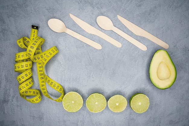 Creative flat lay with healthy vegetarian food ingredients