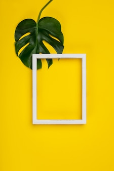 Creative flat lay with tropical plant and white frame
