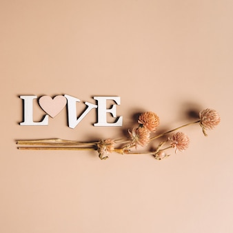 Creative flat lay of word love with natural plants.
