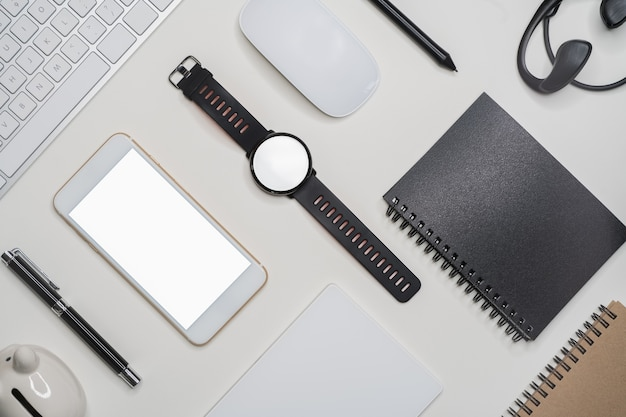 Creative flatlay with fashion object on white background