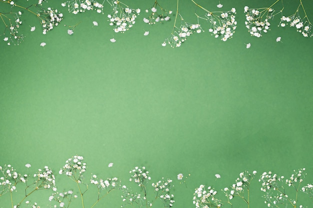 コピースペースと緑の背景に白い装飾的な花で作られた創造的な花のフレーム