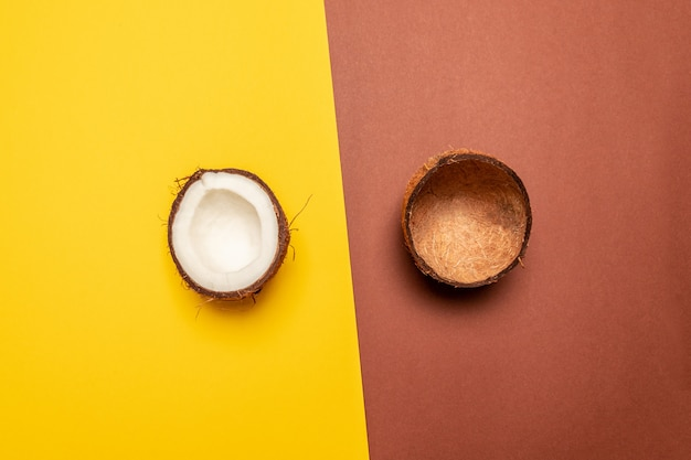 Creative fruit background. layout made of coconut. flat lay, top view, copy space