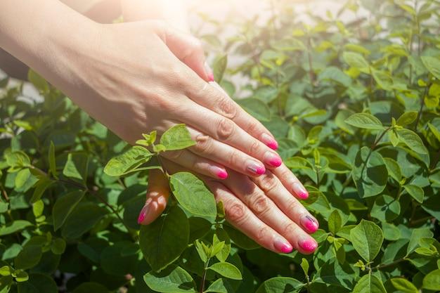 Креативный забавный розовый маникюрный дизайн с надписью party dance. стиль летней вечеринки. женские руки с ярким блеском ногтей на естественном фоне зеленых листьев.