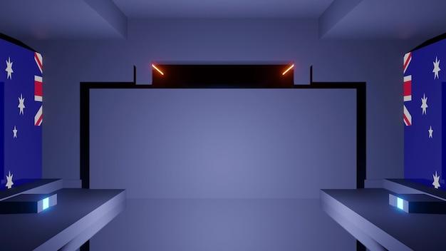 Creative geometric 3d illustration of dark symmetric corridor with uk national flag on walls