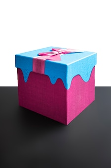 Creative gift on a black and white background