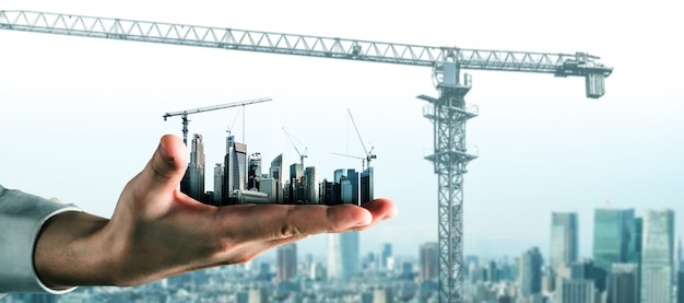 전문 건축가, 작업자 및 엔지니어가 인프라 도시 건물의 개념을 보여주는 창의적인 그래픽 디자인.