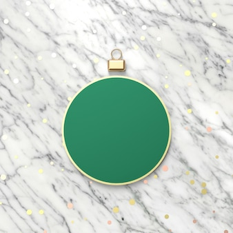 Creative green christmas ball for product display. 3d christmas background. top view. flat lay.