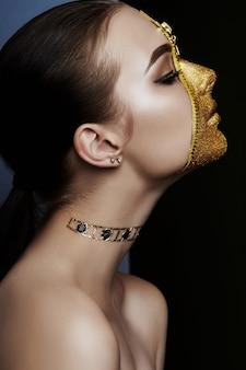 Creative grim makeup face girl golden color zipper