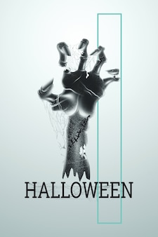 Creative halloween background. halloween lettering and zombie hand on a light background.